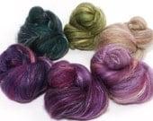 Natural Dyed Fiber Batts - Acanthus - (4 oz.) wool, silk, FLAX