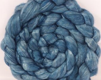 Indigo Hand dyed baby camel/ tussah silk top for spinning   (4.3 oz.) baby camel /silk ( 50/50)