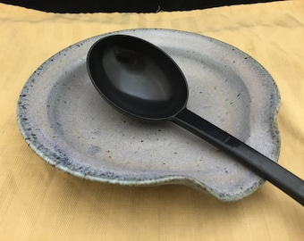 "7"" dia. Blue Gray Large Stoneware Pottery/Ceramic Spoon Rest"