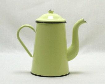 Enamel Coffee Pot, French Coffee Pot, Green  Enamel Coffee Pot, French Enamel Coffee Pot, Stove Top Coffee Pot., Large Coffee Pot (4294)