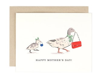 Mother's Day Card - Mother Duck and Duckling