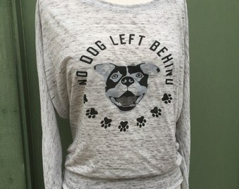 Women's Animal rights rescue white marble flowy dolman shirt No dog left behind Benefits dog cat rescue