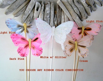 PRINCESS Party, FAIRY Party Favor, BUTTERFLY Wand, Magical Birthday, Woodland Theme, Ribbon Wands, Party Favor