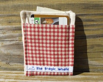 Card Sleeve, Minimalist Wallet, Red and White Wallet, Plaid Wallet, One of a Kind