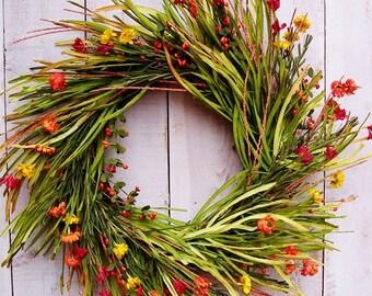 Fall Wreath-Fall Front Door Wreath-Fall Wreaths for Door-Fall Floral Wreaths-Grass Wreath-Fall Door Decor-RUSTIC GRASS Floral Door Wreath