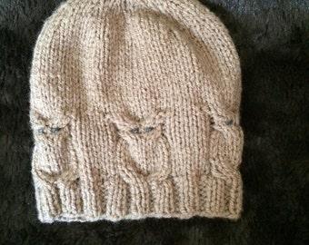 Knitting Pattern Owl Beanie : Owl hat knitting pattern Etsy