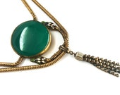 Art Deco Brass, Enamel & Chrysoprase Snake Festoon Necklace