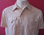 Mens Large or XL western shirt, H Bar C, vintage, beige with striped collar, pearl snaps (648)