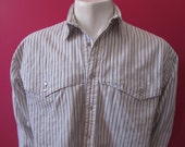 Mens LARGE cowboy shirt, CP Shades, vintage, white with black pinstripes, cape yoke, pearl snaps (650)