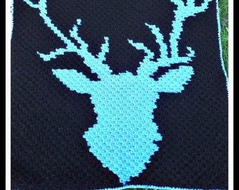 C2C Graph, Deer Head Afghan, Crochet Pattern