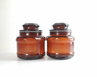 Vintage Apothecary Jars - Brown Glass Apothecary Jars