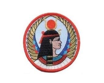 "Goddess Isis Patch - 3"" Round patch, Sew-on applique, Egyptian patch, Wiccan pagan, Goddess symbol, Embroidered patch, Isis applique"