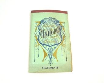 Vintage Ephemera Statement Book, Vintage Receipt Book, Vintage Statement Book, Uniform Series, Vintage Pad of Paper, Grid, 28 pages