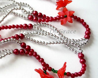 Handmade Red Silver Poinsettia Beaded Garland Swag Holiday 75 Inches