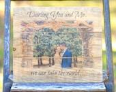 Personalized wooden photo, custom wood photo, woodland wedding, wedding gift, engagement gift, gift for bride Bridal shower gift,