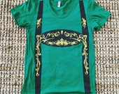 Women's Green Lederhosen Shirt