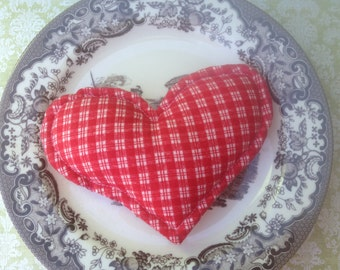 Vintage Red and White Gingham Heart Pillow, Christmas Ornament Heart, Stuffed Little Red and White Heart