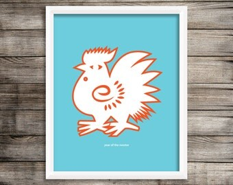 Year of the Rooster Modern Home Decor Wall Art  8X10 ~ Digital Download.