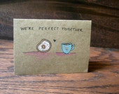 Coffee and Donut // Hand Drawn Card // Love