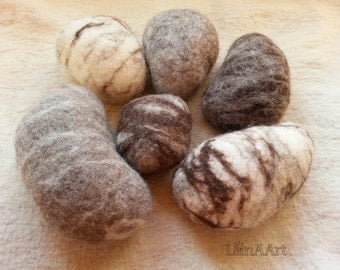 Set of 6 felted wool rocks pebbles - seamless decorative stones - handmade textile art - soft sculptures & home decor - natural wool colors