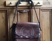 Vintage tooled leather womens shoulder bag handbags and purses accessories bohemiam boho floral design Dolly Topsy Etsy UK