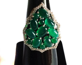 Green Onyx 925 Sterling Silver Ring setted Gemstone Cabochons & Cubic Zircona White Rhodium Plated Jewelry
