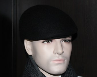Beret Hat 100% rabbit fur felt - Color Black