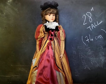 """28"""" Vintage French Porcelain doll. 28 inch, ( 74 cm ) Displayed Only."""