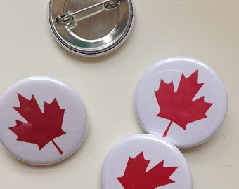 maple leaf button - red and white - canada day