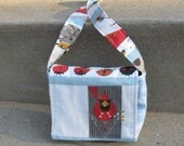 SALE Organic and Upcycled Toddler Purse in Cardinal Bird