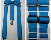 On Sale: Malibu Suspenders with Malibu Bow Tie. Bridal Color Malibu Blue. Sizes Infant - Adult. Free Shipping Offer ! Custom Fit Available.