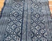 Handprinted Hmong cotton, Vintage style fabric, Batki  textiles and fabrics- Table runner,
