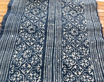 Handprinted Hmong cotton, Vintage style fabric, Batki  textiles and fabrics- Table runner,