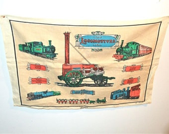 Little Trains of Wales Linen Towel Ireland Vintage