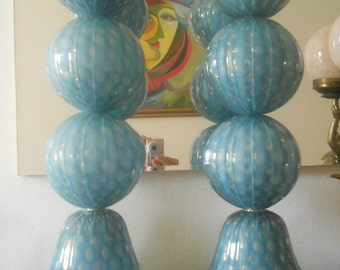 murano glass lamps pair- turquoise & gold