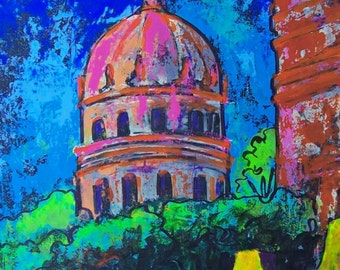 "SALE Original painting of church at night in San Miguel de Allende architecturel art home decor 19.5""x 25.5"""