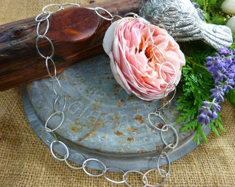 STERLING SILVER Large Link Oval Chain Sundance Style Necklace
