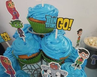 12 Teen titans go cupcake toppers