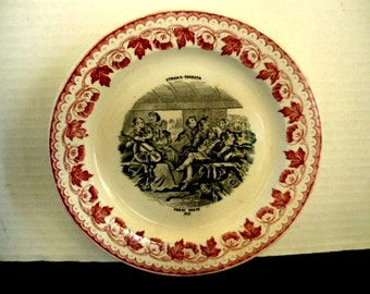 Collector Plate - Platter  Strada-Ferrate / Iron Road  -  C. 1862 - 1906  The Railroad in Italy Collectible 8 in   Transferware  Christmas