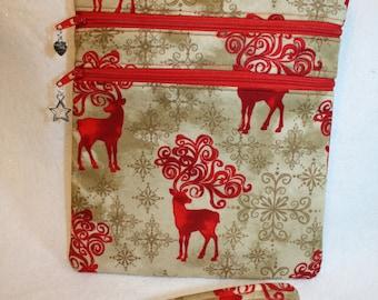 Christmas Reindeer Holiday Crossbody handbag w/ adj Strap