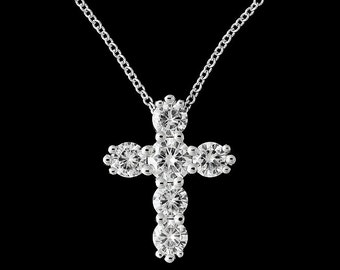 1.75ct Forever One Moissanite Cross Necklace, Gold Cross Pendant, Religious Symbol Necklace, Christianity Cross, Six Stones Moissanite Cross