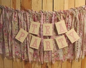 Tea Party Tattered Garland and Banner Shabby Chic Bridal Shower Birthday Garden Party