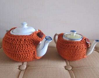 Pumpkin Teapot Cozy Crocheted with Button, Orange Teapot Cozies, Teapot Cozy for Fall, Crochet Cozy for Teapots, Crochet Tea Cozies