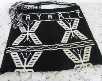 Vintage Wool Woven Crossbody Bag Hippie Black Nayarit Mexico
