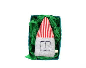 Baby Rattle in a gift box - Little House, soft knitted toy