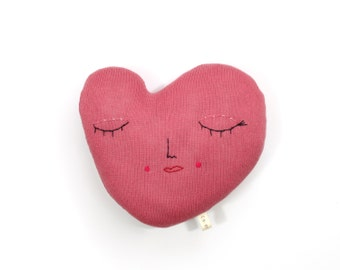 Heart pillow - soft knitted toy, pillow