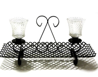 Black Pierced Metal Candle Sconce Tray With Handle Handle and Feet Candle Cups Gothic Quatrefoil and Scroll Design MCM