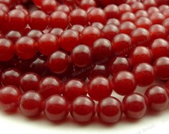 8mm Dark Red Jade Round Gemstone Beads - 15.5 Inch Strand - BG9