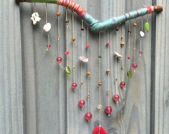 Pink and Blue Beach Inspired Blessing Branch Large Wall Hanging