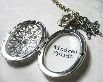 locket necklace anne of green gables with kindred spirit quote pendant bridesmaid bestfriend gift necklace for women book jewelry
